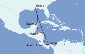 Itinerario de crucero Caribe del Oeste 11 días a bordo del Carnival Sensation