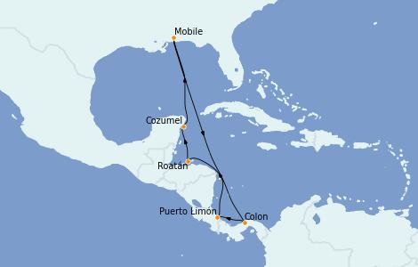 Itinéraire de la croisière Caraïbes de l'Ouest 10 jours à bord du Carnival Sensation