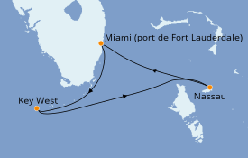 Itinéraire de la croisière Bahamas 6 jours à bord du Majesty of the Seas