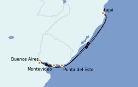 Itinéraire de la croisière Amérique du Sud 7 jours à bord du MSC Sinfonia
