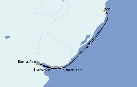 Itinéraire de la croisière Amérique du Sud 6 jours à bord du MSC Sinfonia