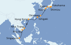Itinéraire de la croisière Asie 14 jours à bord du Celebrity Solstice