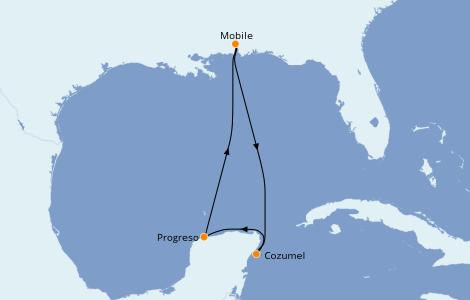 Itinéraire de la croisière Caraïbes de l'Ouest 5 jours à bord du Carnival Sensation