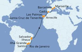 Itinéraire de la croisière Transatlantiques et Grands Voyages 2019 20 jours à bord du Costa Fascinosa