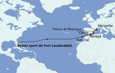 Itinéraire de la croisière Méditerranée 16 jours à bord du Enchanted Princess